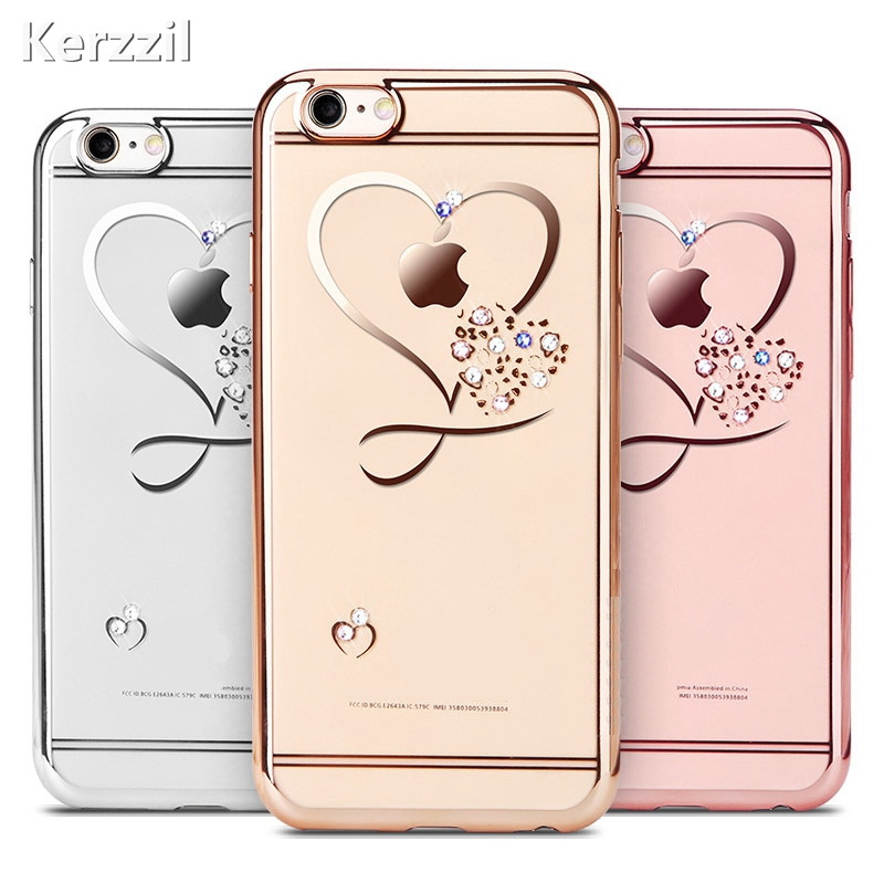 Kerzzil Love Heart Diamond Metal Flash Soft Phone Case For iPhone 7 6 6S 8 Plus Silicone Phone Cover For iPhone X 6 7 6S 8 Coque