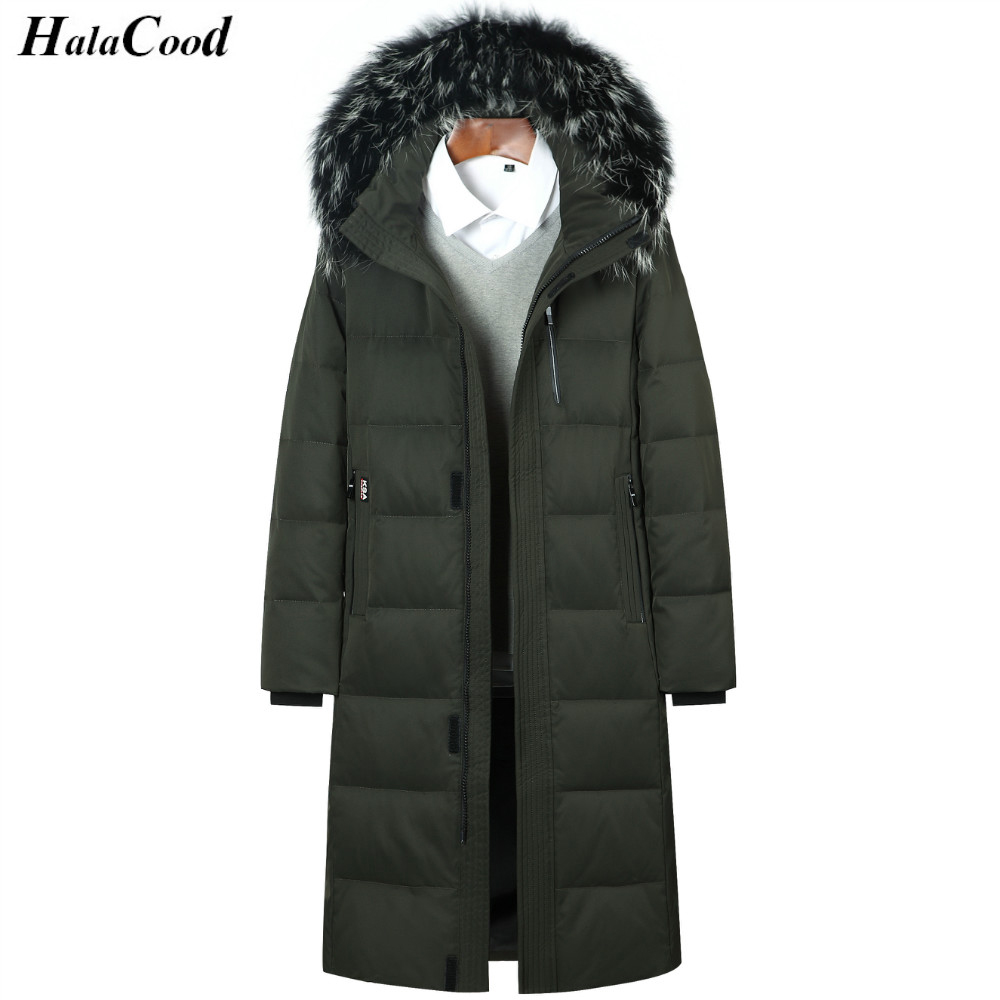 Mens Duck Down Jacket Long Coat Plus Size Winter White Duck Down Jackets Zipper Coat Natural fur collar Warm Clothing Overcoat