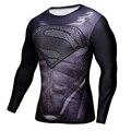 Мужчины Crossfit Сжатия С Длинным Рукавом Рубашки Marvel 3D Superhero Супермен Футболка Колготки Фитнес Мужчины Топы и Тройники