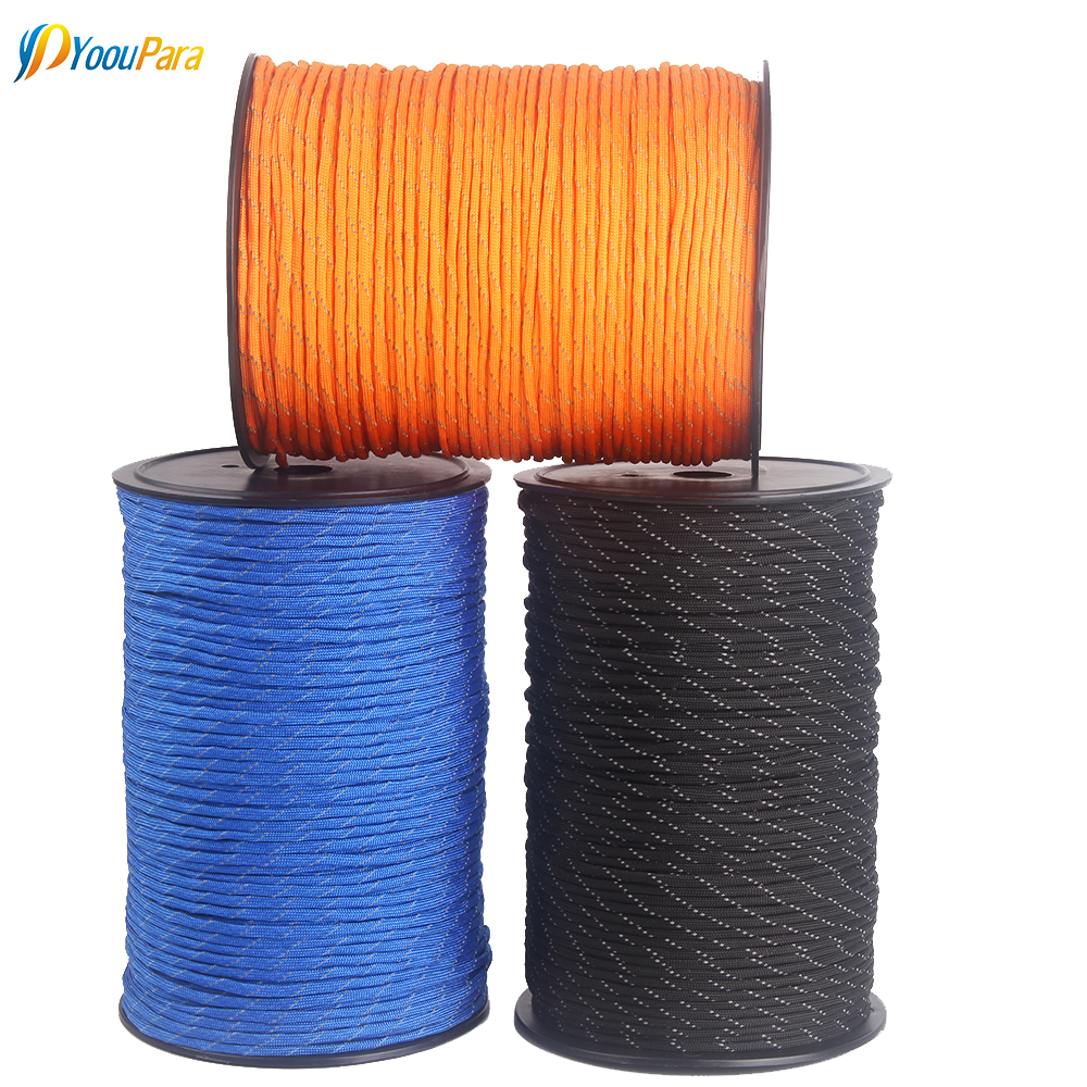 10 Colors 1000FT Spools Reflective Paracord Rope 7 Strands For Camping Outdoor Survival Equipment DHL Free