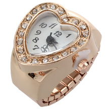 Nrpfell Love Heart Shape Ring Watches For Women Gold Color Crystal Finger Ring