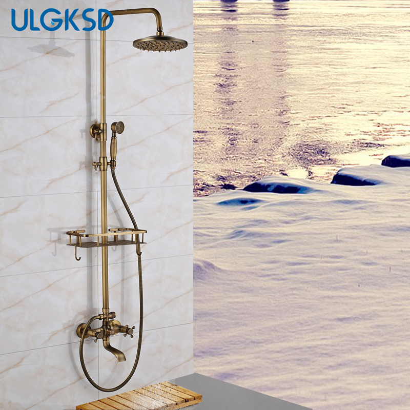 ULGKSD Bathroom Shower Faucet 8 Rainfall Shower Head Antique brass Bathroom faucets with Lifting Rod Handheld Sprayer mixer tap bathroom shower set faucet chrome finish abs head shower handheld sprayer brass mixer tap shower faucet