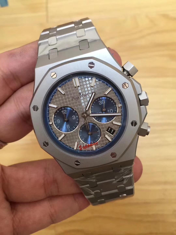 Top luxe tout nouveau hommes montre Quartz chronographe phase de lune saphir acier inoxydable retour verre lumineux militaire noir bleu