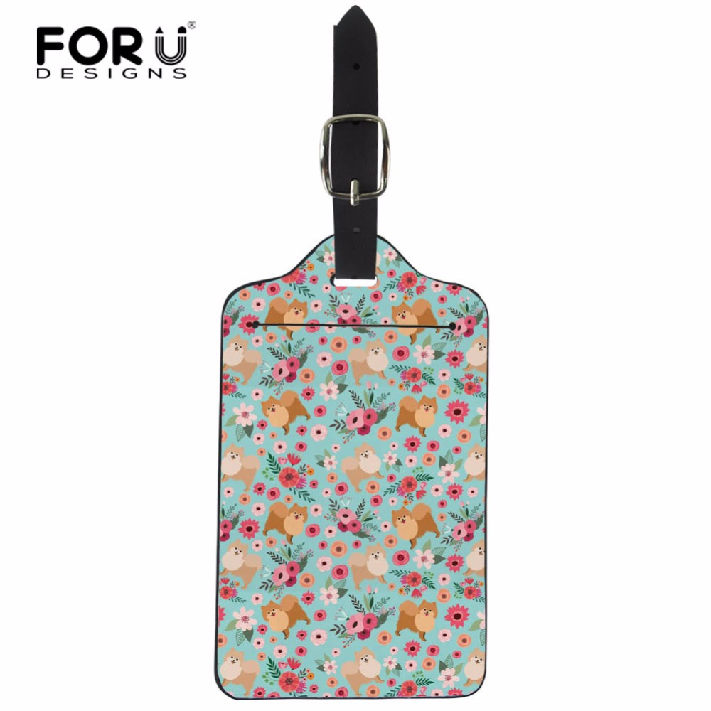 FORUDESIGNS Pomeranian Flowers Print Travel Accessories Luggage Tags Baggage Boarding Tag for Trolley Suitcase Portable Label