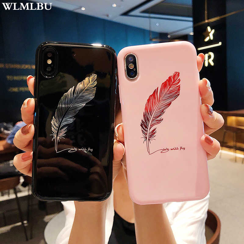 WLMLBU Voor iPhone 7 8 Plus XS Max XR Xs Brief Telefoon Gevallen Voor iPhone X 8 7 6 6 S Plus Zachte TPU Back Cover Siliconen Feather Case
