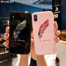 WLMLBU For iPhone 7 8 Plus XS Max XR Xs Letter Phone Cases For iPhone X 8 7 6 6S Plus Soft TPU Back Cover Silicone Feather Case цена