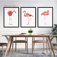 Watercolor Flamingo Canvas Art Print Poster , Nordic Red Animals Wall Pictures for Home Decoration, Living Room Wall Decor