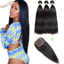 Brazilian Straight Hair Bundles With Closure Angel Grace Hair Weave Bundles With Closure Remy Human Hair 3 Bundles With Closure (China)