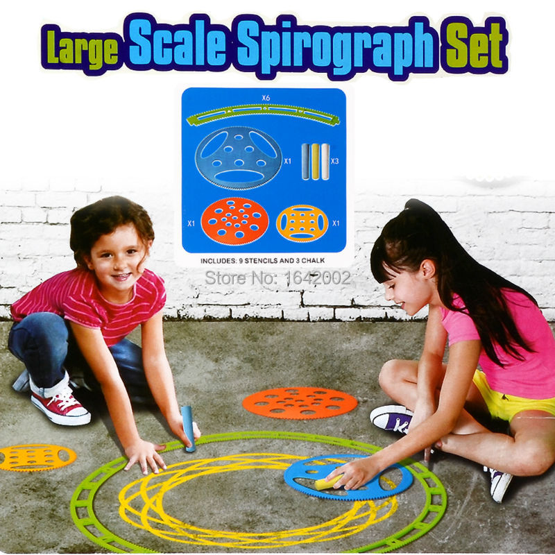 Large Spirograph Drawing toys set 9 stencils and 3 chalk Creative Draw Spiral Design,Outdoor Educational toys For children