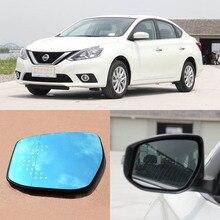 Pour nissan sylphy marque nouvelle voiture rétroviseur miroir bleu lunettes led tournant du signal clair avec chauffage