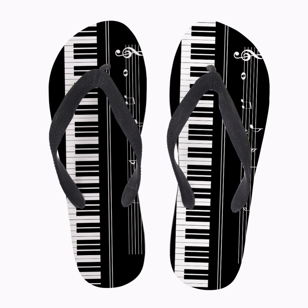 NOISYDESIGNS Music Notes with Piano Keyboard Print Flip Flops Men Casual Fashion House Slippers Slip-on Mens Flats Flip Flops