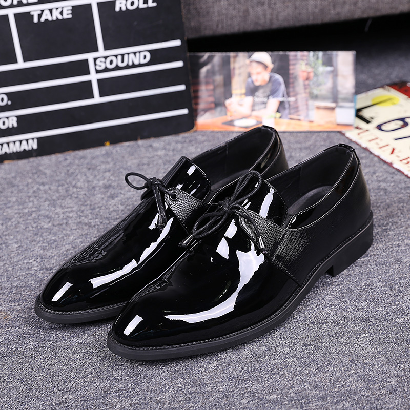 ФОТО Bright Business Casual Leather Shoes Men British Fan Wedding Shoes Young Man Office Leisure Dress Shoes