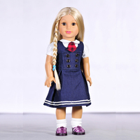 New Handmade Doll Clothes Suits White Shirt Blue Dress For 18inch American Girl Doll BJD 1