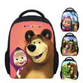 14inch New Printing Cartoon Plush bag Masha and Bear Backpack Kids Baby's Plush Bags For  4-12 Years Girls&Boys 35*28*12cm Size