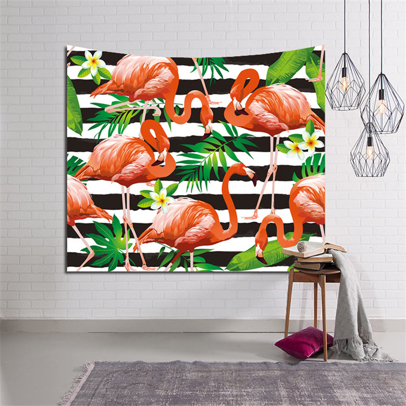 Tropischen Blatt Flamingo Muster Wandkunst Hängende Tapestry ...