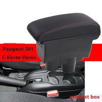 For Citroen C Elysee Elysee Peugeot 301 armrest box central Store content Storage box USB interface