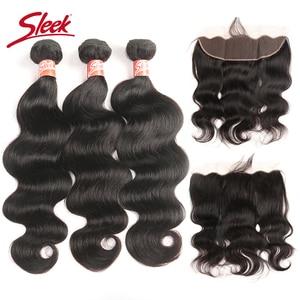 Гладкие бразильские волосы, волнистые, кружевные, фронтальные, с пучками, 4 шт., бесплатная доставка, не Реми, человеческие волосы, плетение, 3 ...