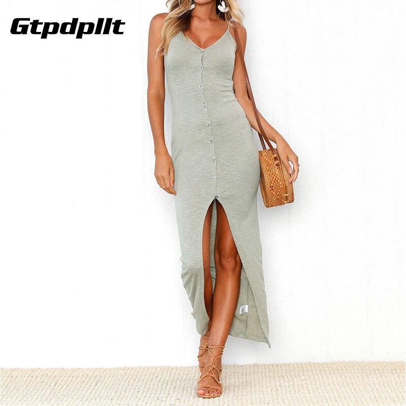 Gtpdpllt 2018 Summer Dress Women Off Shoulder Sexy Bodycon Dress Casual Maxi Dress Plus Size V-neck Button Long Dress vestidos