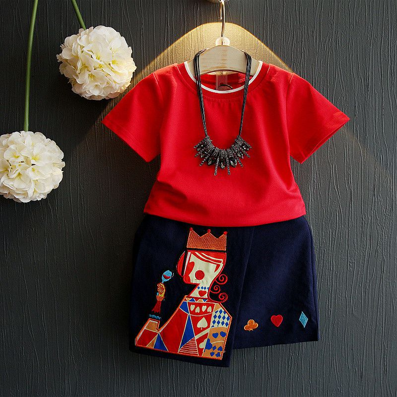 Girls Clothing Sets New Summer Fashion Style set Cartoon Princess Printed T-Shirts+Net Veil Dress 2Pcs red Girls Clothes Sets acthink 2017 new girls formal solid lace dress shirt brand princess style long sleeve t shirts for girls children clothing mc029