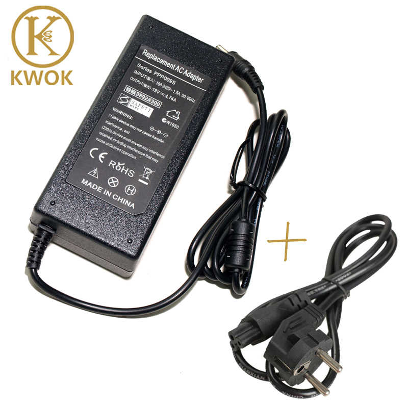 19 V 4.74A AC Adapter Laptop Charger Notebook Power Supply + EU DAYA kabel untuk asus x53e x53s x72d x52f x7bj a52j untuk asus x72f