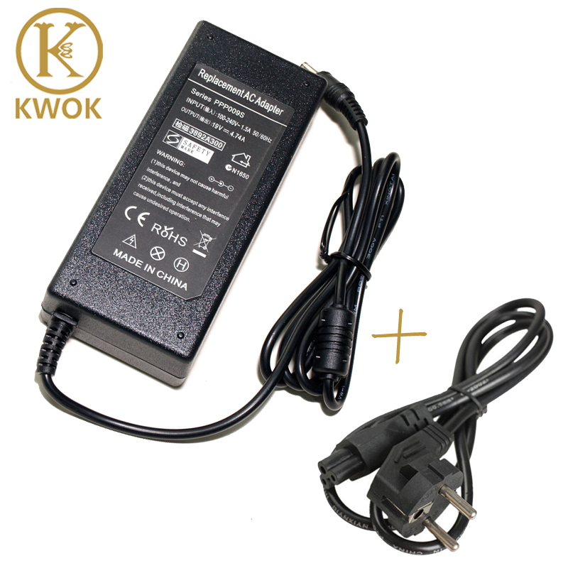 19V 4.74A AC Adapter Laptop Charger Notebook Power Supply + EU POWER Cord FOR ASUS X53E X53S X52F X7BJ X72D X72F A52J For asus 19v 1 75a ac us plug latpop adapter power supply charger for asus x205t x205ta notebook laptop adapter