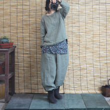 Spring Autumn Loose 100% Linen Pants Chinese Retro Frog Leg Opening Literary Knickers Turnip Women Ninth