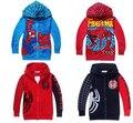 SY066 Бесплатная доставка новый 2014 мода spiderman мальчики пальто дети одежда весна куртка мальчиков верхней одежды с капюшоном розничная