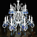 2015 Luxury Rustic Wrought Iron Crystal Chandelier E14*12pcs LED Big White Double Candelabra Vintage Antique Pendant Lamp