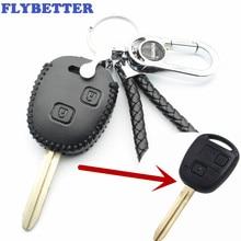 Flybetter Пояса из натуральной кожи Дистанционное управление металлический брелок чехол для Toyota Camry/RAV4/Corolla/Prado/Yaris 2 кнопка Ключевые l2039
