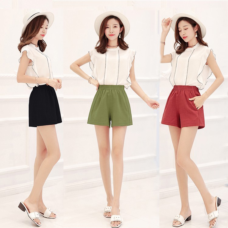 Cotton Hemp Shorts Korean Version Of Women's Loose Waist Slim A-shaped Broad-legged  Thin Bottom Leisure Hot
