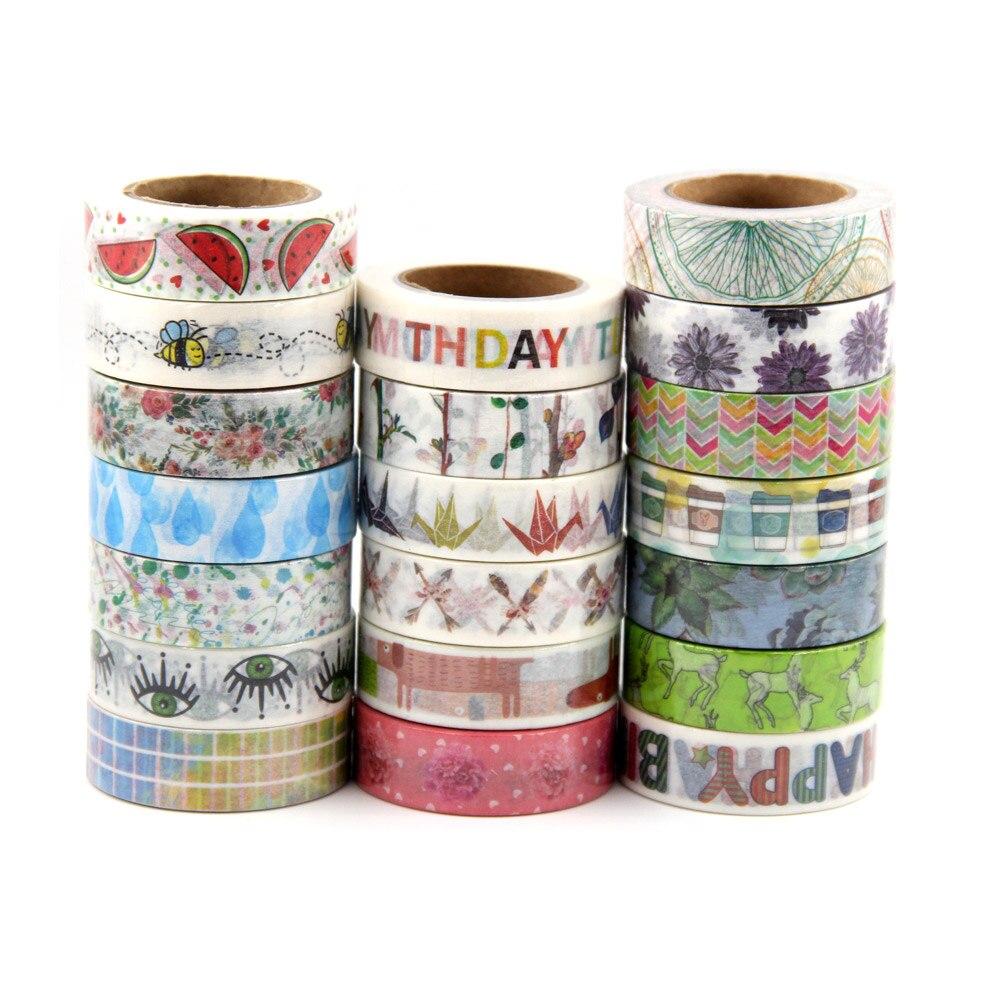 On sale Randomly Mix 30 rolls washi tape set petal Animal Flower Paper Japanese Washi tape 15mm*10m Top quality