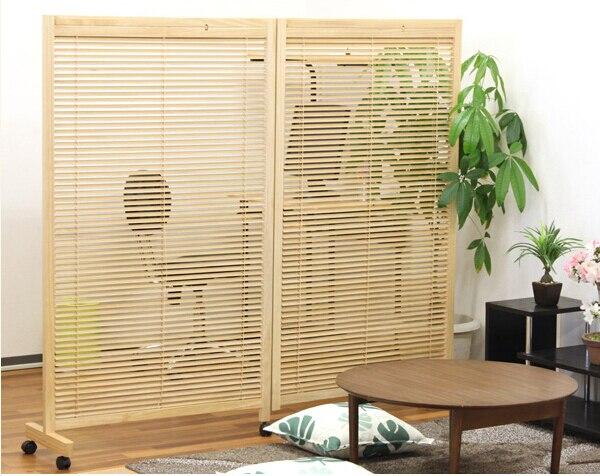 cloison murale en bois mobile japonaise 2 panneaux avec separateur de chambre meuble decoratif oriental