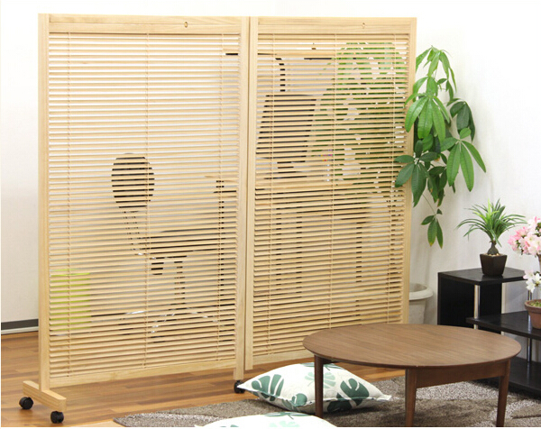 Japanese Movable Wood Partition Wall 2 Panel Folding Screen Room ...