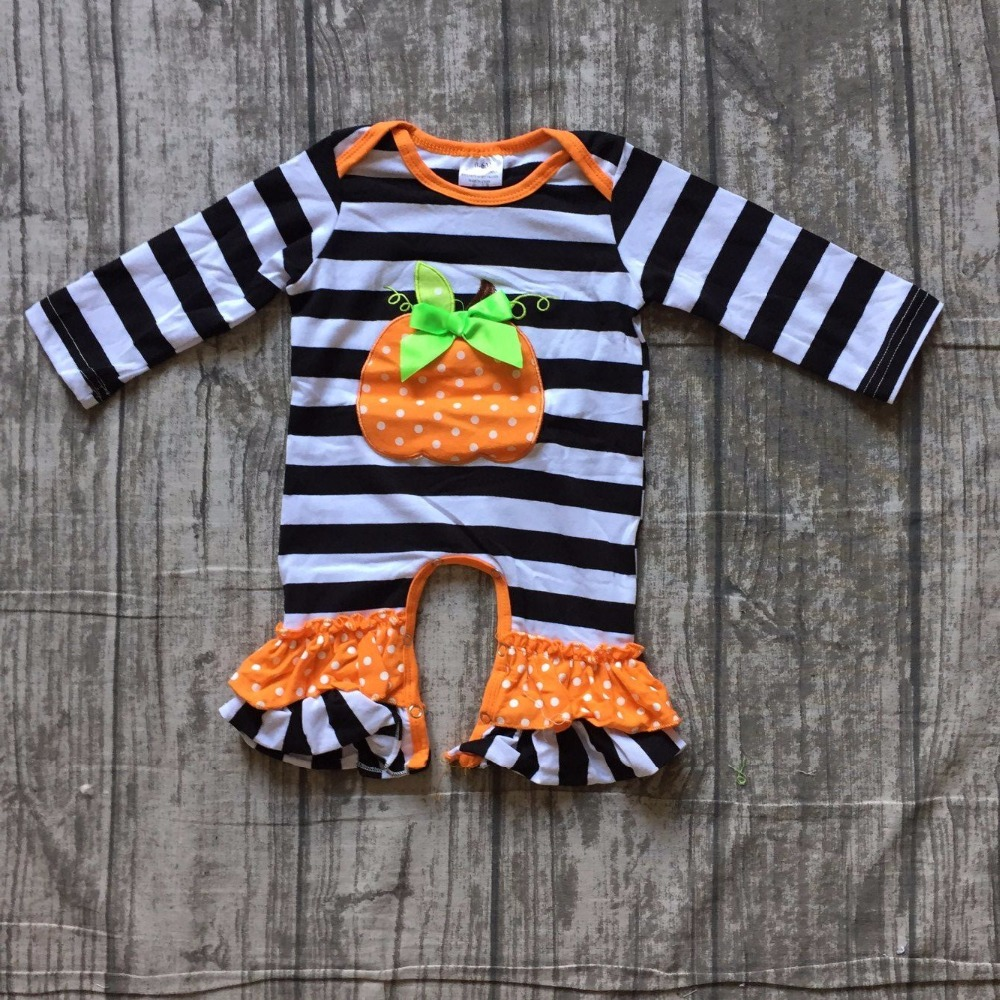 girls Halloween jumpsuits sets infant toddler baby girls Halloween   romper   baby infant girls pumpkin black stripes   romper   outfits