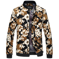 2019 Brand New Autumn Winter Floral Jacket Men Stand Collar Flower Printed Cotton Casual Bomber Jackets Coats Plus Size M 6XL