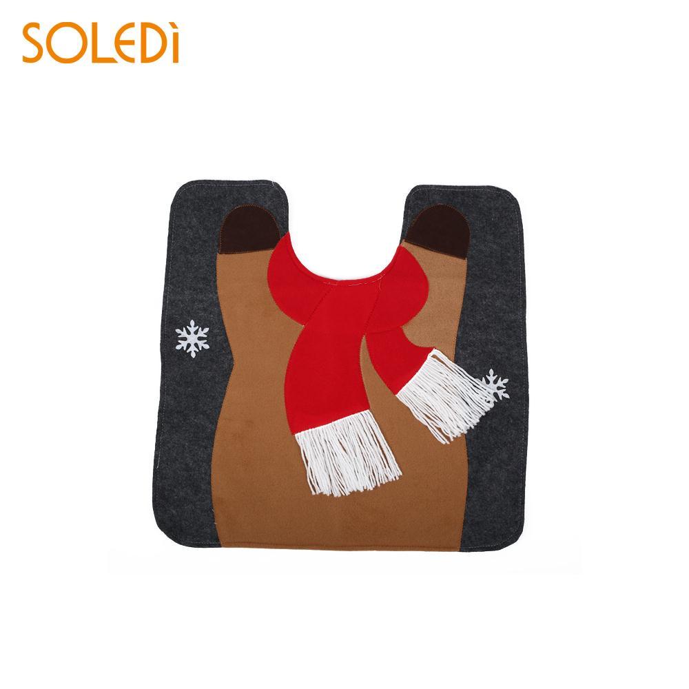 Toilet Seat Cushion Toilet Seat Cover Bathroom Mat Set Home Decor Santa Claus Cartoon Christmas Decoration Creative