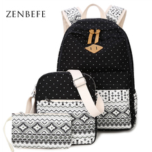 ZENBEFE 3 Pcs Set Women Backpacks Hot Selling Printing Backpacks School Bags For Teenagers Girls Rucksack School Bag Bookbags cheap Softback Polyester NONE Below 20 Litre Interior Compartment Cell Phone Pocket Embossing zipper Physiological Curve Back
