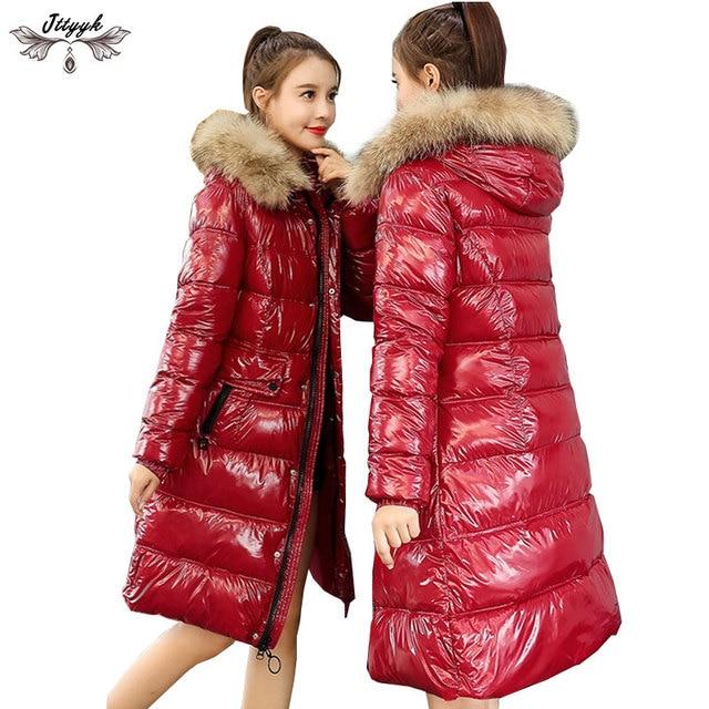 d4981d023 US $43.74 41% OFF|Glossy Women Winter Jacket Raccoon Fur Collar Winter Coat  Women Long Down Parka Lady Hooded Parkas Warm Cotton Jackets Slim 738-in ...