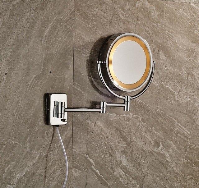 luz led cromo pulido espejo de maquillaje doble pared lados montados vestidoup espejo