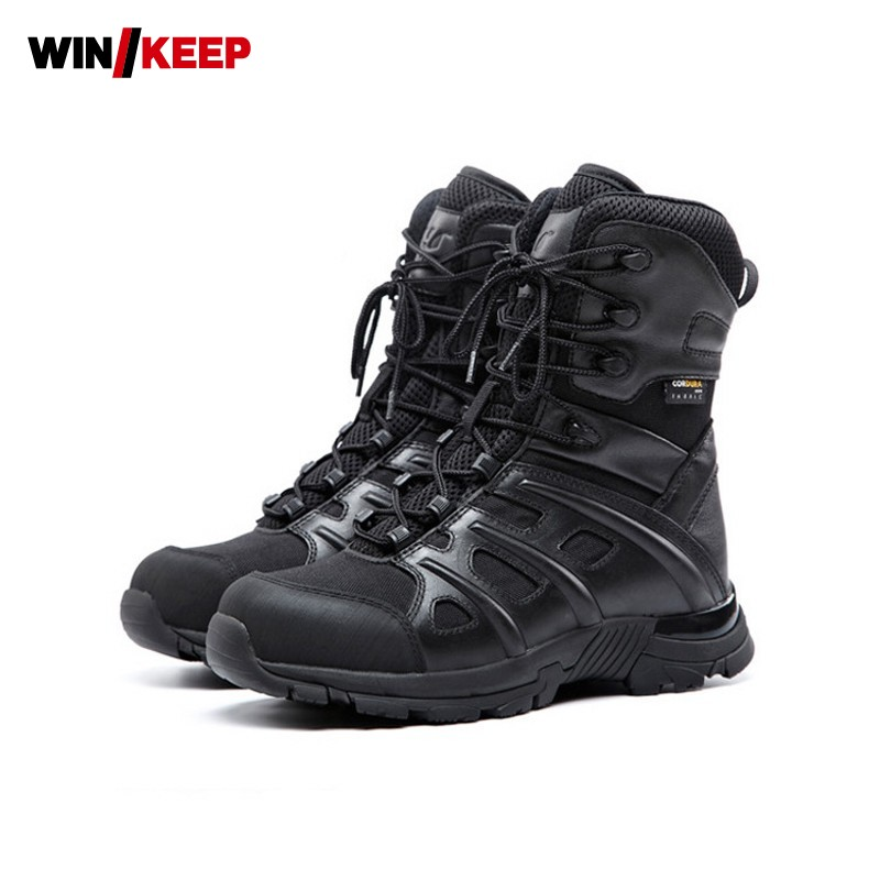 Hiking Shoes For Mountain Shoes For Camping Climbing Leather Breathable Outdoor Sports Tactical Men Boots Combat Boots Footwear military men s outdoor cow suede leather tactical hiking shoes boots men army camping sports shoes