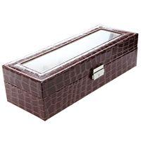 Faux Leather Watch Case Storage Display Box Organize Jewelry Glass Brown