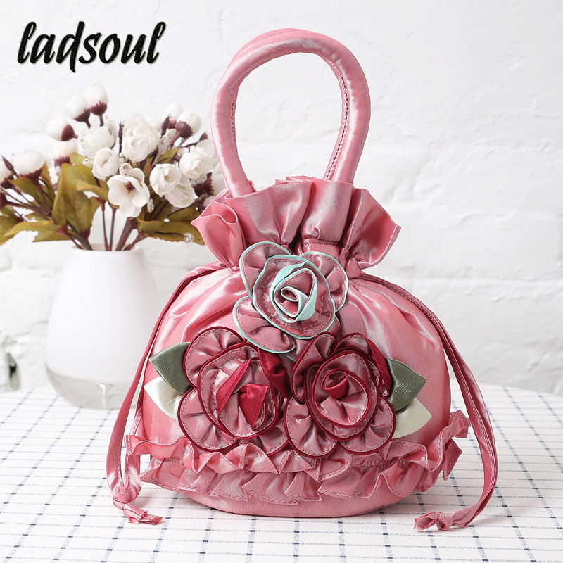 Women's Keys Mobile Phone Handbag Canvas Lace Pumping Flower Bags Floral Bucket Bag A9851/G