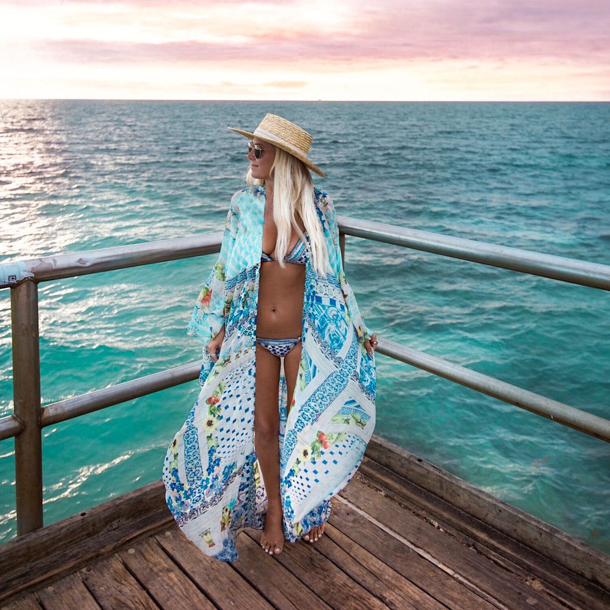 Womens Boho Style Beach Summer Tops Chiffon Striped Floral Long Kimono Cardigans Femme Harajuku Blusa Feminina Dames Ropa Mujer