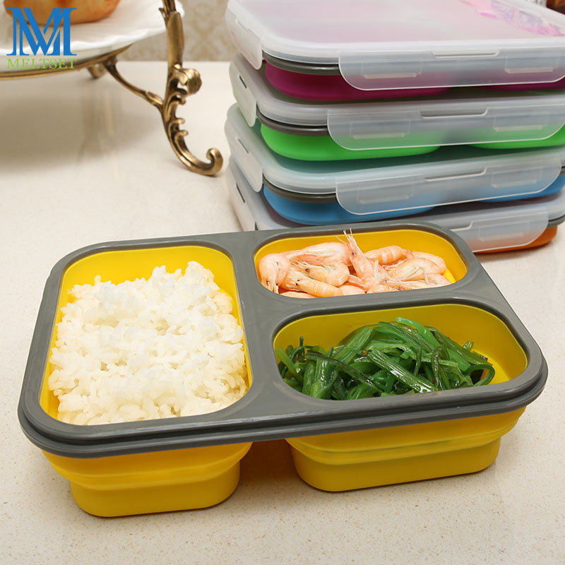 Folding Silicone Lunch Box Portable Collapsible Bento Box With Spoon Fork Microwave Food Container Bowl 5