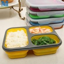 Folding Silikon Lunch Box Tragbare Faltbare Bento Box Mit Löffel und Gabel Mikrowelle Lebensmittelbehälter Schüssel 5 Farben