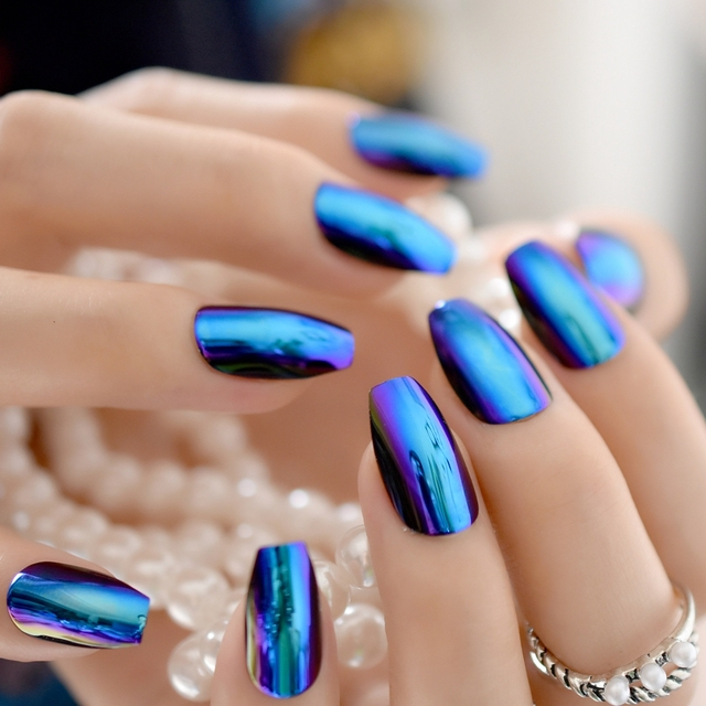24pcs Blue Coffin Design Mirror Nail Art Tip Medium Flat Stiletto ...