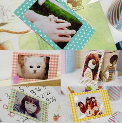 20 pçs/lote Doces Cor Foto Álbuns Adesivos DIY Scrapbook Papel Decorativo Fotos Quadro Para Mini Instax Filme Decoração Da Sua Casa