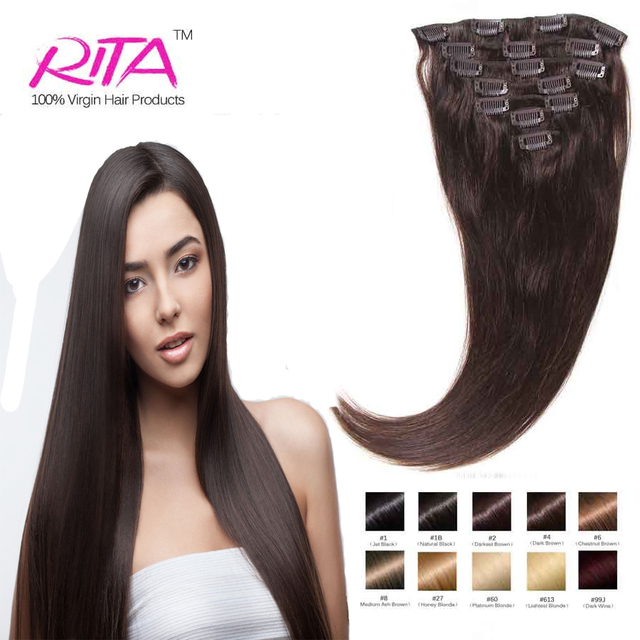 Darkest Brown #2 7PCS 8PCS 10PCS Clip In Brazilian Straight Hair Beuatiful  70-200G Remy Hair Full With Your Head