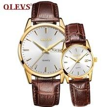 OLEVS Роскошные модные женские туфли часы Для мужчин Повседневное женские часы лучший бренд кварцевые часы кожаный relogio Саат водонепроницаемый пару часов