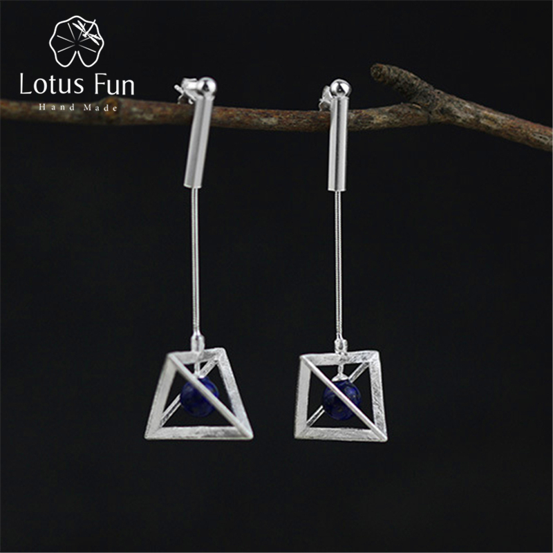Lotus Fun Real 925 Sterling Silver Earrings Natural Original Handmade Fine Jewelry Creative Lamps Dangle Earrings for Women original donut creative earrings